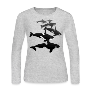 Orca Whale Shirt Women's Killer Whale Jersey Shirts - Women's Long Sleeve Jersey T-Shirt