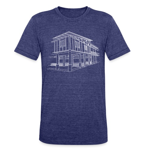 Dreams to Acts Campus Illustration T-Shirt (Indigo) - Unisex Tri-Blend T-Shirt