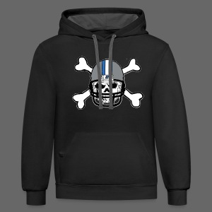 Detroit Football Skull and Bones - Contrast Hoodie