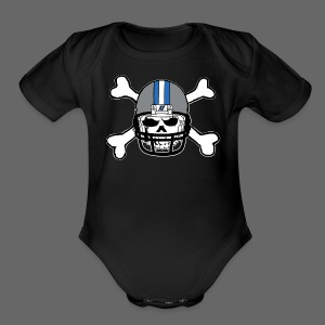Detroit Football Skull and Bones - Short Sleeve Baby Bodysuit
