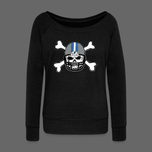 Detroit Football Skull and Bones - Women's Wideneck Sweatshirt