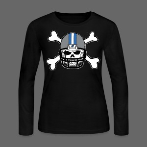 Detroit Football Skull and Bones - Women's Long Sleeve Jersey T-Shirt
