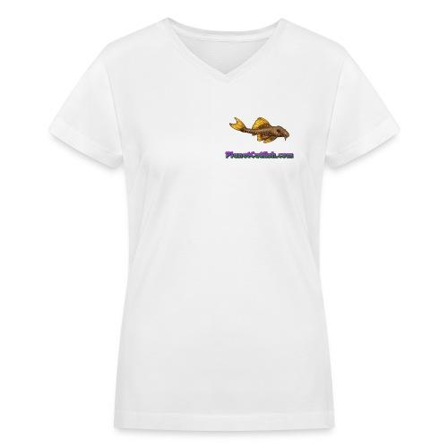 Planet L014 White Tee - Women's V-Neck T-Shirt