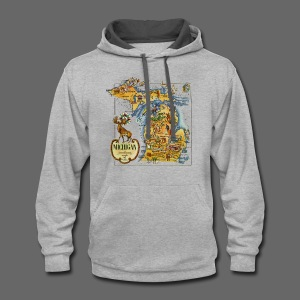 1946 Michigan Map - Contrast Hoodie