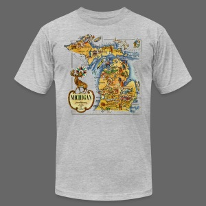 1946 Michigan Map - Men's T-Shirt by American Apparel