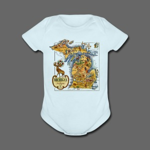 1946 Michigan Map - Short Sleeve Baby Bodysuit