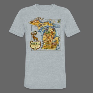 1946 Michigan Map - Unisex Tri-Blend T-Shirt by American Apparel