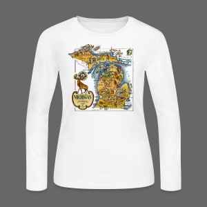 1946 Michigan Map - Women's Long Sleeve Jersey T-Shirt