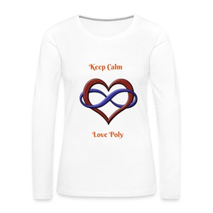 Love Poly- White with Red Letters - Women's Premium Long Sleeve T-Shirt