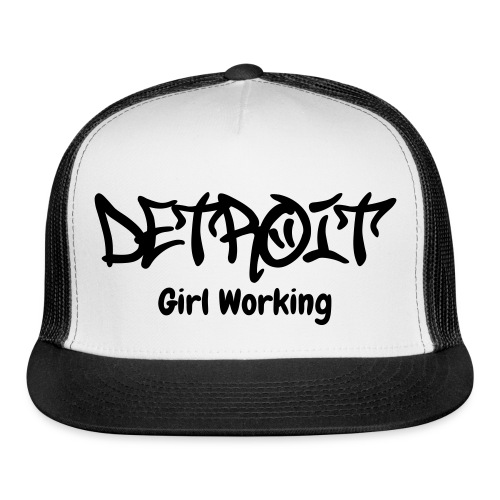 Detroit Girl Working Trucker Hat - Black/White - Trucker Cap