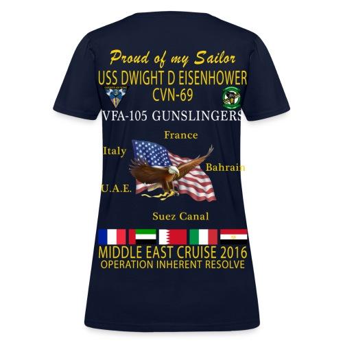IKE AIRWING - VFA-105 GUNSLINGERS 2016 CRUISE SHIRT - FAMILY - WOMEN'S - Women's T-Shirt
