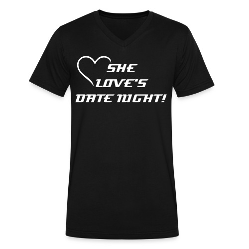 She Love's Date Night Men - Men's V-Neck T-Shirt by Canvas
