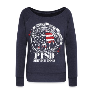 Womens PTSD Service Dogs Wide Neck Fleece - Women's Wideneck Sweatshirt
