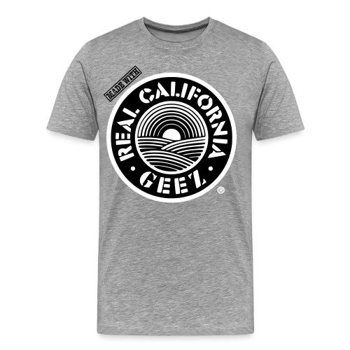 REAL CALIFORNIA GEEZ/BIG & TALL/blk, wht on gry - Men's Premium T-Shirt