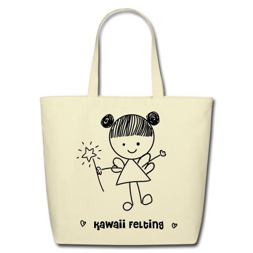 Kawaii Felting Fairy 100% Cotton Eco Tote Bag in Black/Creme - Eco-Friendly Cotton Tote