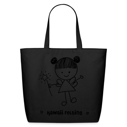 Kawaii Felting Fairy 100% Cotton Eco Tote Bag in Black/Creme - Eco-Friendly Cotton Tote