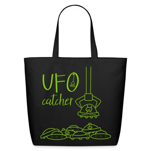 UFO Catcher 100% Cotton Eco Tote Bag in Green/Black - Eco-Friendly Cotton Tote