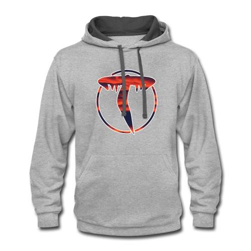 Triicity Hoodie - Orange and Navy Clouds Logo - Contrast Hoodie