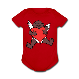 Baby's Valentine's Bodysuit African Cupid Love Gifts - Short Sleeve Baby Bodysuit
