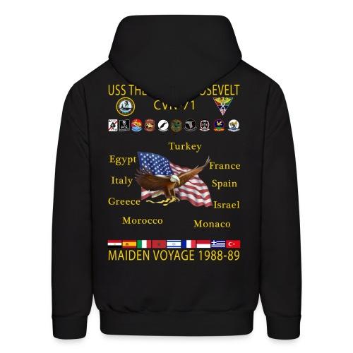 USS THEODORE ROOSEVELT CVN-71 MAIDEN CRUISE 1988-89 HOODIE - Men's Hoodie