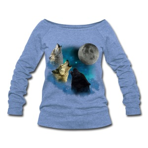 Howling Wolves Women's Heather Blue Wide-neck Sweatshirt - Women's Wideneck Sweatshirt