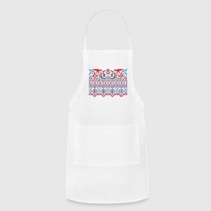 Two colorful cross-stitch birds Wedding engagement Aprons - Adjustable Apron