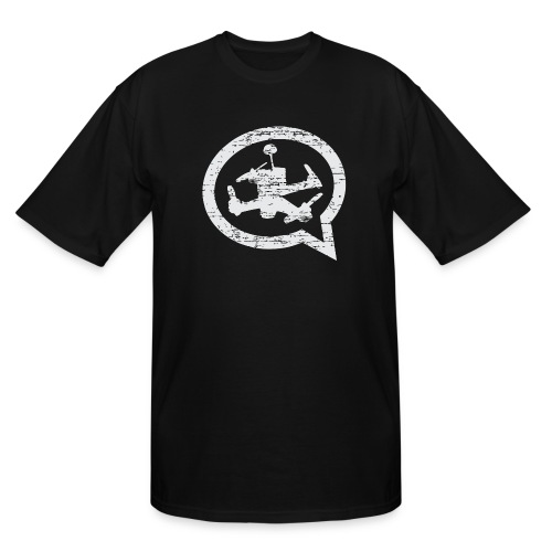 Men's Distressed Quad Talk Podcast T-shirt Tall-Black - Men's Tall T-Shirt
