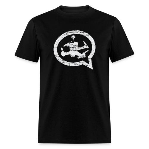 Men's Distressed Quad Talk Podcast T-shirt- Black - Men's T-Shirt