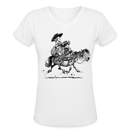 Thelwell Two Cowboys With Their Horse - Women's V-Neck T-Shirt