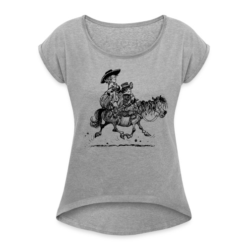 Thelwell Two Cowboys With Their Horse - Women's Roll Cuff T-Shirt