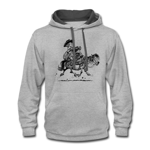 Thelwell Two Cowboys With Their Horse - Contrast Hoodie