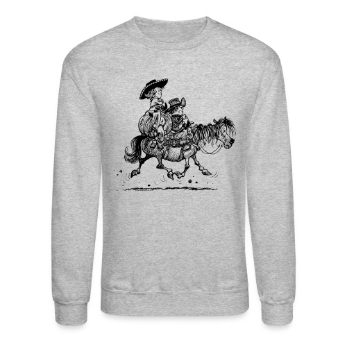 Thelwell Two Cowboys With Their Horse - Crewneck Sweatshirt