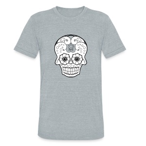 Day of the Dead- Flowery Eyes Skull - Vintage - Unisex Tri-Blend T-Shirt by American Apparel
