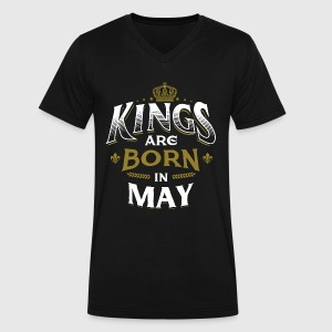 Born Birthday Bday Kings May T-Shirts - Men's V-Neck T-Shirt by Canvas