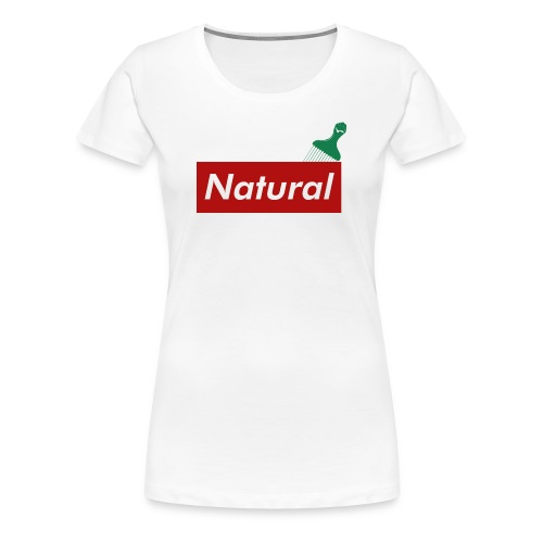 Natural with Afro Pick (RED) - Women's Premium T-Shirt
