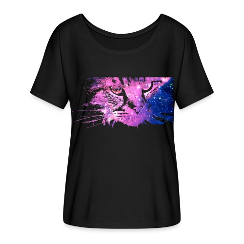 Galaxy Cat (Women Flowy) - Women's Flowy T-Shirt