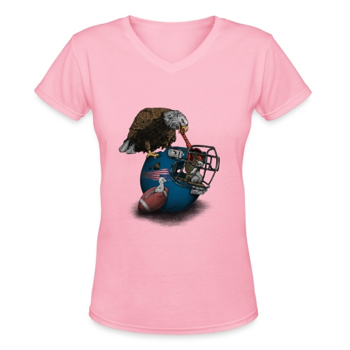 Wild American Football - Women's V-Neck T-Shirt