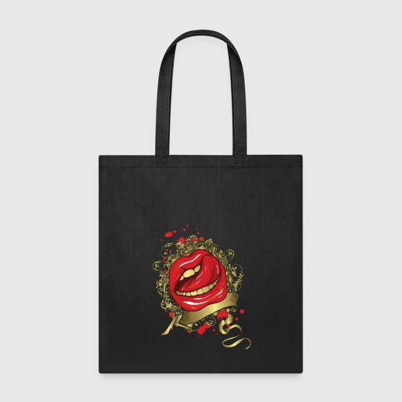 Tongue Stroking a Red Lips Bags & backpacks - Tote Bag