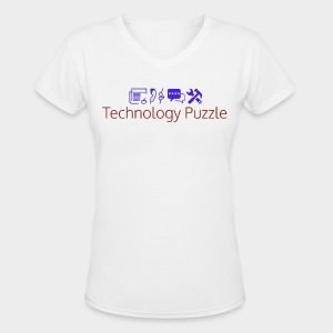 Women: Technology Puzzle 5.0 V-Neck T-Shirt - Women's V-Neck T-Shirt