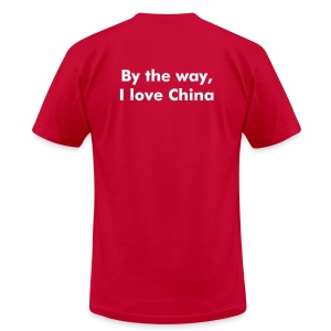 China Logo Tee with 'By the way, I love China' Text - Men's T-Shirt by American Apparel