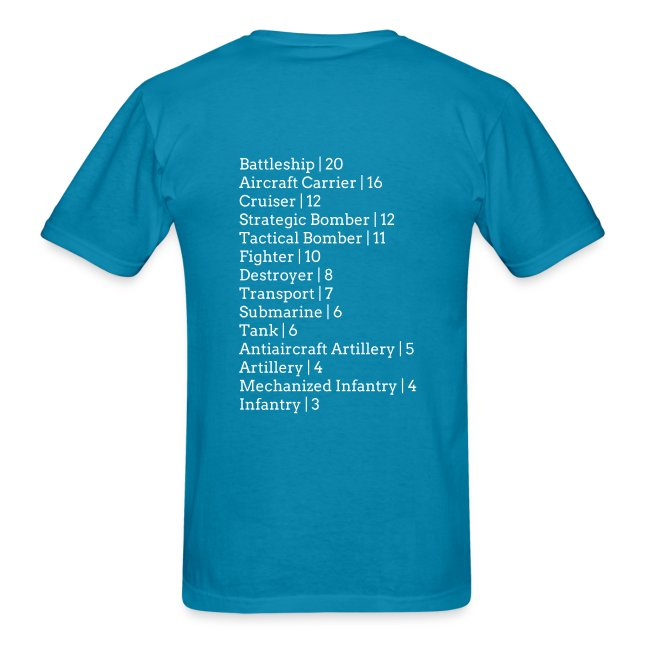 Axis & Allies 1940 T-Shirt: Unit Pricing on Back