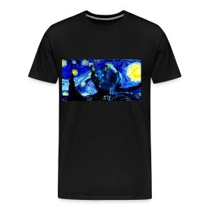 Cat Van Gogh, Starry Night - Men's Premium T-Shirt