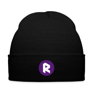 Winter Cap with Center R - Purple - Knit Cap with Cuff Print