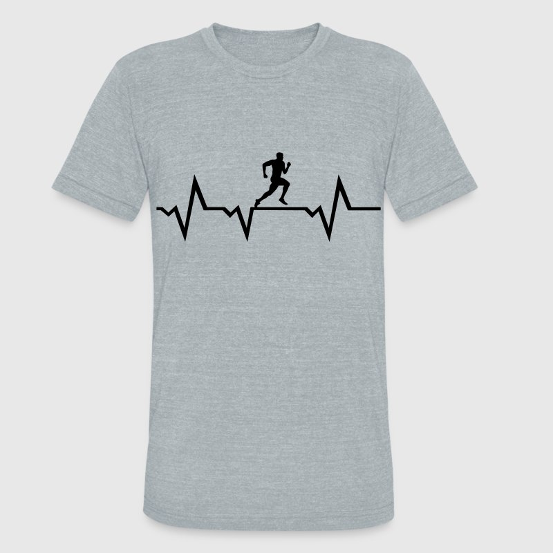 Running Man & Heartbeat T-Shirts - Unisex Tri-Blend T-Shirt by American Apparel
