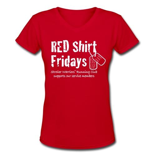 Women's 2017 RED v-neck w/ White Printing - Women's V-Neck T-Shirt