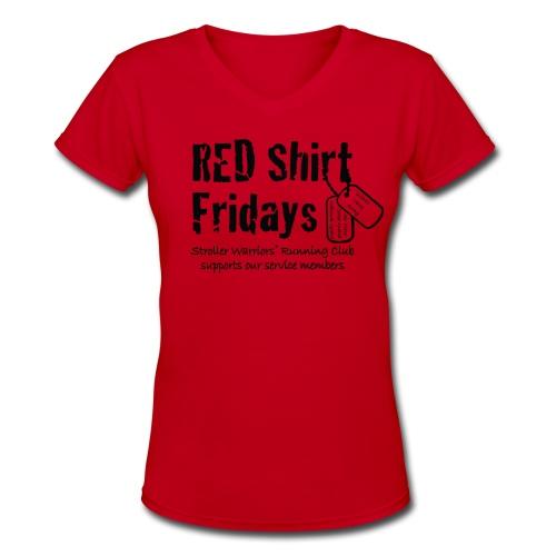 Women's 2017 RED v-neck w/ Black Printing - Women's V-Neck T-Shirt