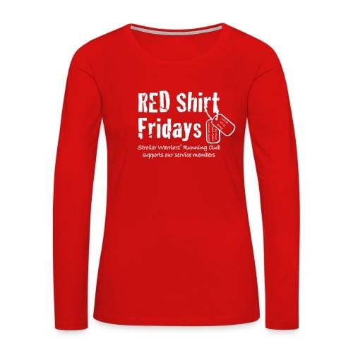 Women's 2017 RED Premium L/S Tee w/ White Printing - Women's Premium Long Sleeve T-Shirt