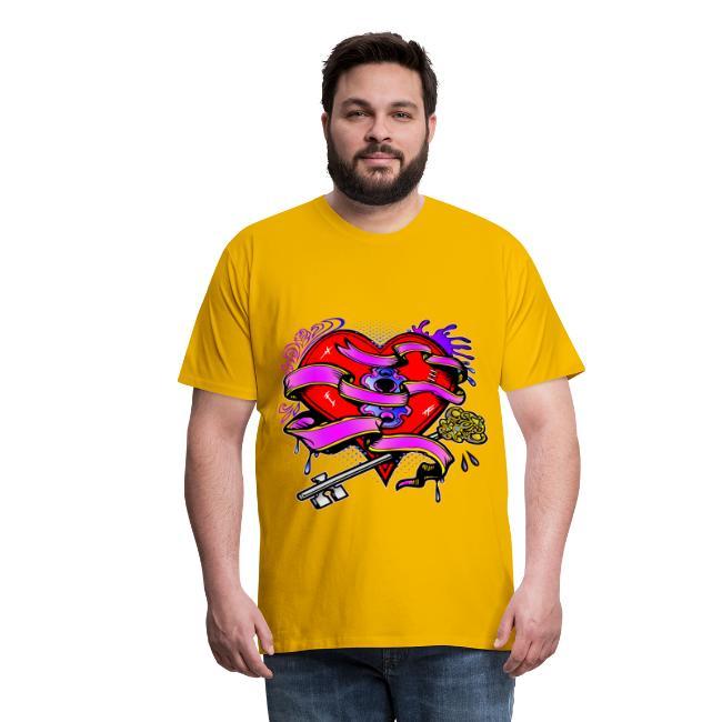 dd7dd13c White Tiger LLC | Key To My Heart Tattoo Art - Mens Premium T-Shirt