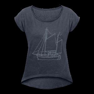 sailing boat - Women's Roll Cuff T-Shirt