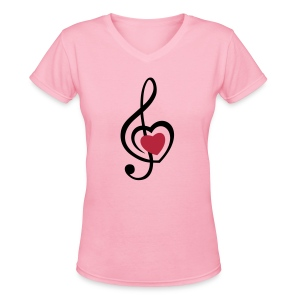 Music Love - Women's V-Neck T-Shirt
